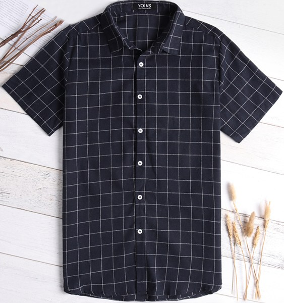 Men Cotton Classic Plaid Shirt 2