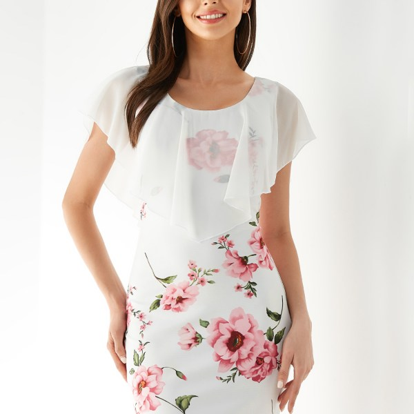 YOINS White Random Floral Floral Round Neck Overlay Short Sleeves Dress 2