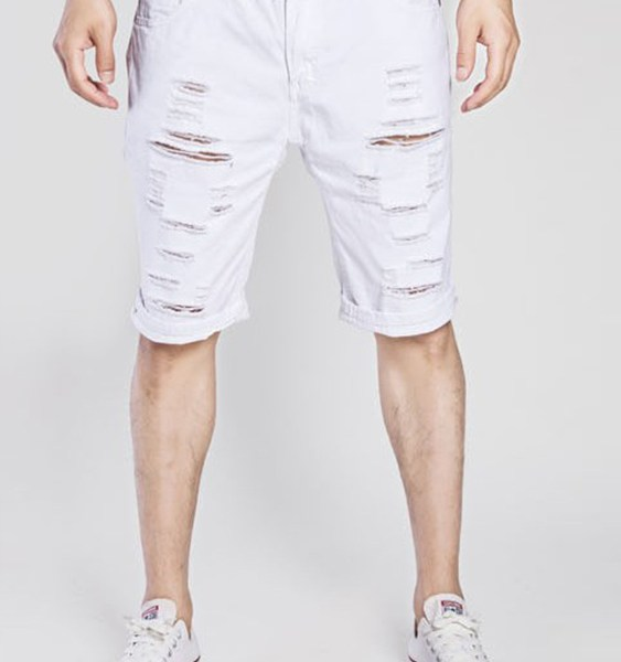 Men Casual Water Washed Straight Denim Ripped Shorts Jeans 2