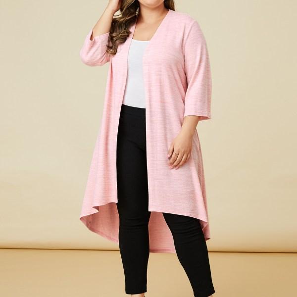 YOINS Plus Size Pink High-Low Hem Open Front Cardigan 2
