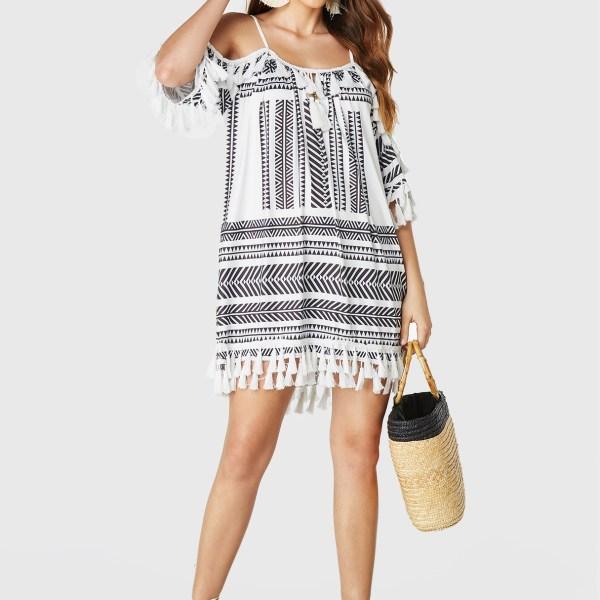 White Tribal Print Cold Shoulder Tassel Details Dress 2