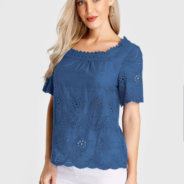 Blue Hollow Design Square Neck Short Sleeves Blouse 2