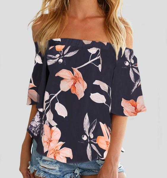 Off Shoulder Random Floral Print Blouse in Navy 2