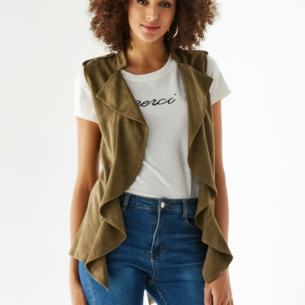 YOINS Army Green Suede Open Front Ruffle Trim Sleeveless Jacket 2