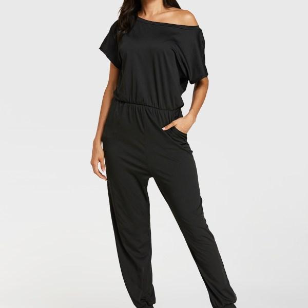 Black Button Keyhole Design Short Sleeves Jumpsuit 2