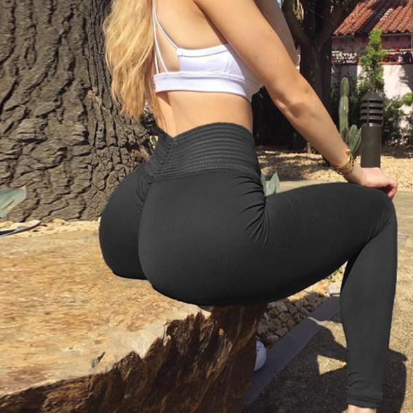 Black Super Stretch Elastic Waist Leggings 2