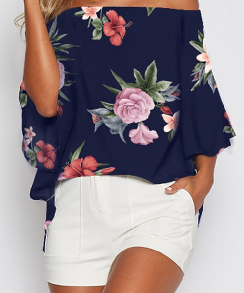 Navy Random Floral Print Off The Shoulder Slit Blouse 2