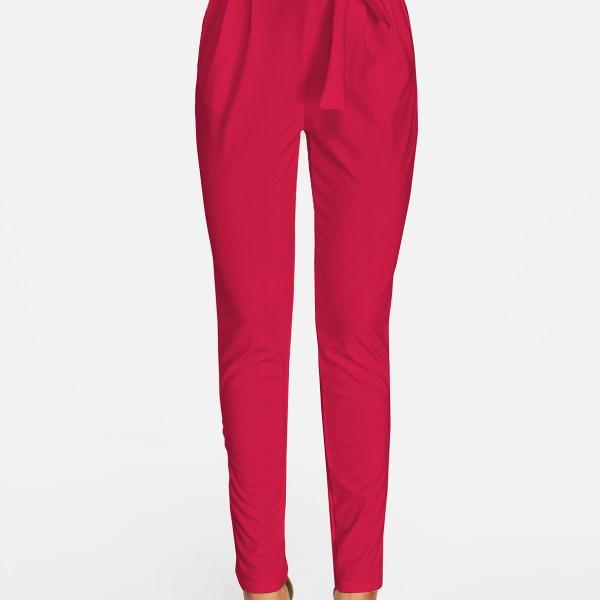 Red Self-tie Embellished Pants 2