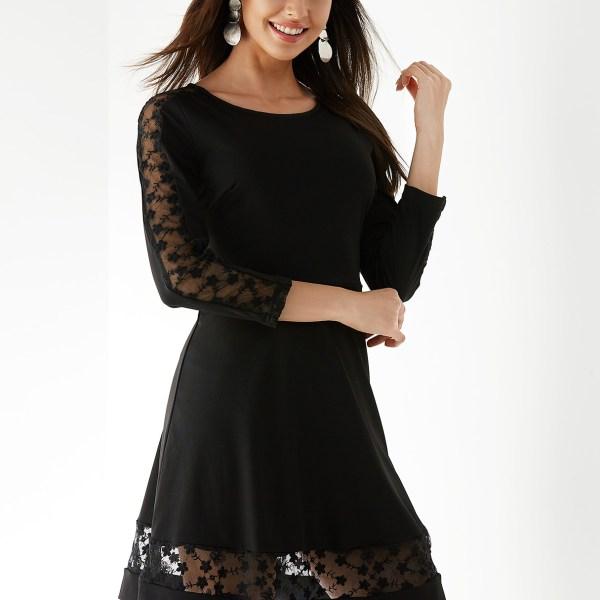 YOINS Black Round Neck 3/4 Length Sleeves Lace Design Dress 2