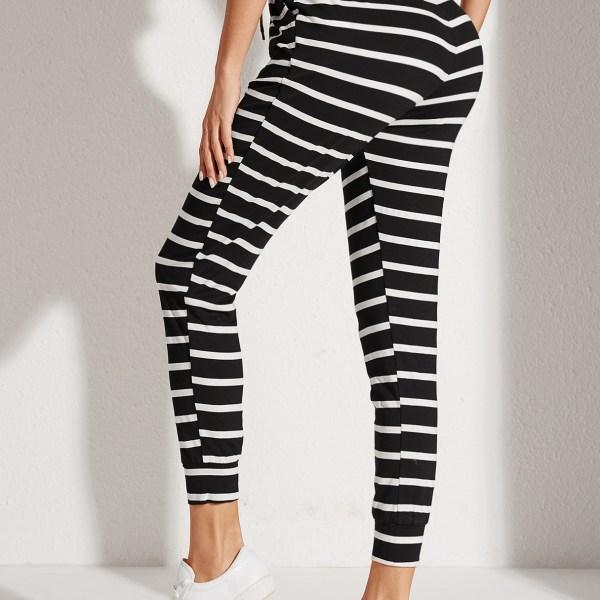 YOINS Black Side Pockets Stripe Drawstring Waist Pants 2