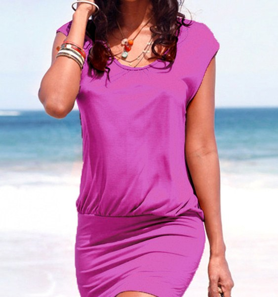 Purple Round Neck Short Sleeves Dress 1