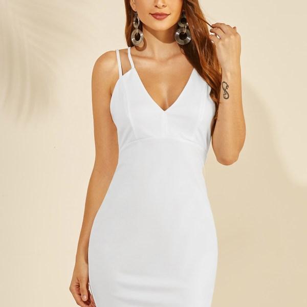 YOINS White Backless Design Deep V Neck Sleeveless Dress 2