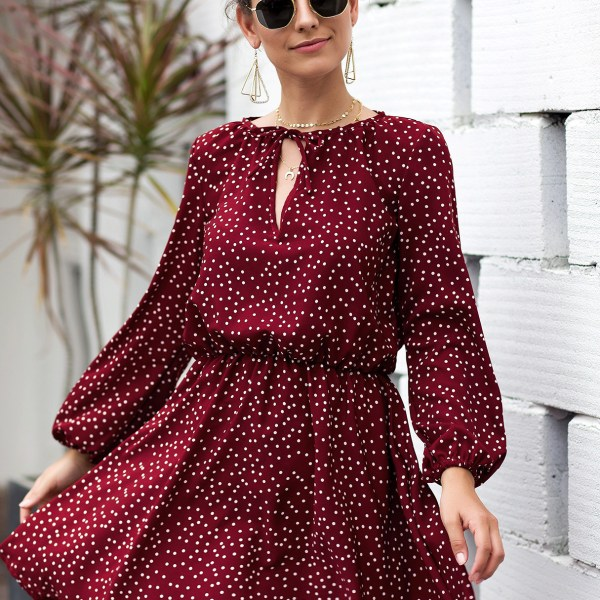 Red Polka Dot Round Neck Lantern Sleeves Ruched Dress 2