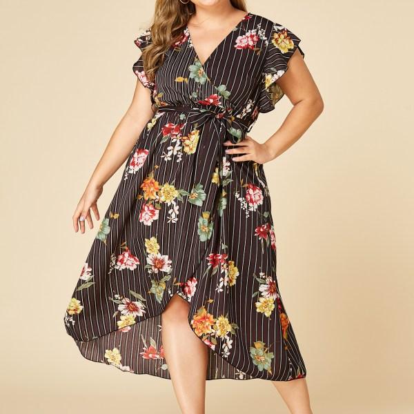 YOINS PLus Size Black Wrap Design Random Floral Print Stripes Dress 2