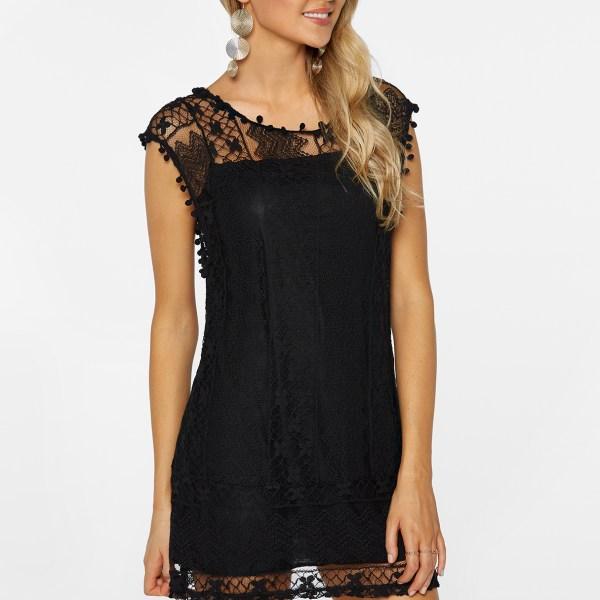Black Lace Details Round Neck Sleeveless Dresses 2