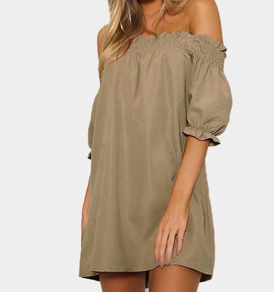 Off-The-Shoulder Mini Dress in Khaki 2