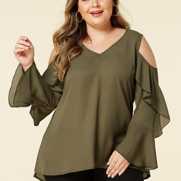 YOINS Plus Size Army Green Cold Shoulder Long Sleeves Blouse 2