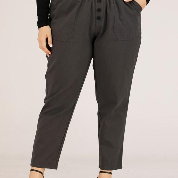 Plus Size Grey Button Design Elastic Waist Pants 2