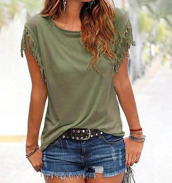 Army Green Scoop Neck Tassel Sleeves T-shirt 2
