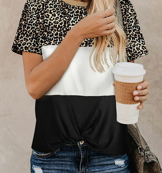 Casual Leopard Patchwork DesignShort Sleeves Tee 2