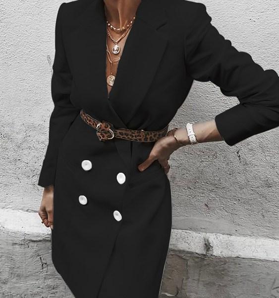 Belt Design Notch Collar Blazer 2