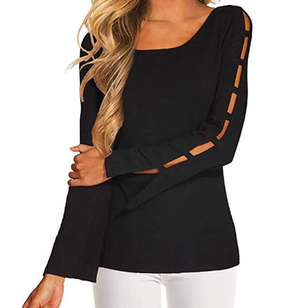 YOINS Black Round Neck Long Sleeves Cut Out Tee 2