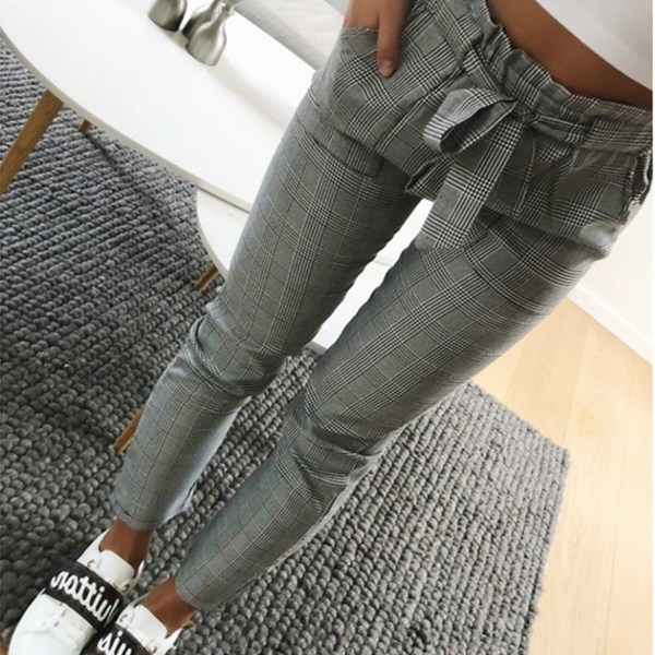 Grey Belt Design Check Middle Waisted Pants 2