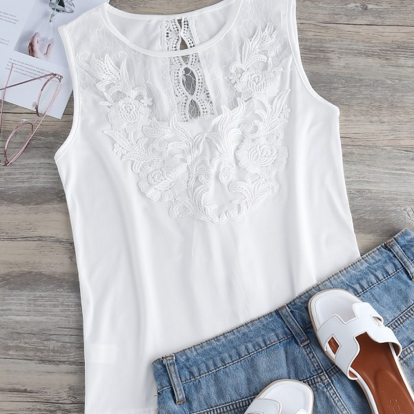 White Crochet Lace Embellished Round Neck Tank Top 2