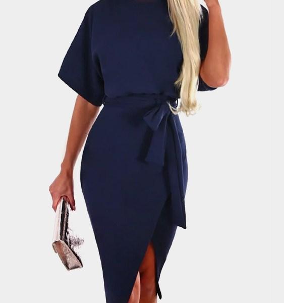 Navy Self-tie Design Short Sleeves Slit Hem Midi Dress 2
