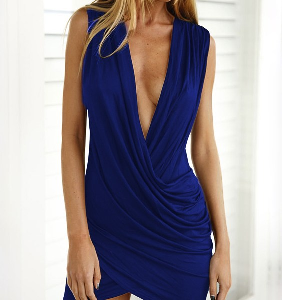 Royal Blue Crossed Front Design Pleated V-neck Sleeveless Sexy Dress 2