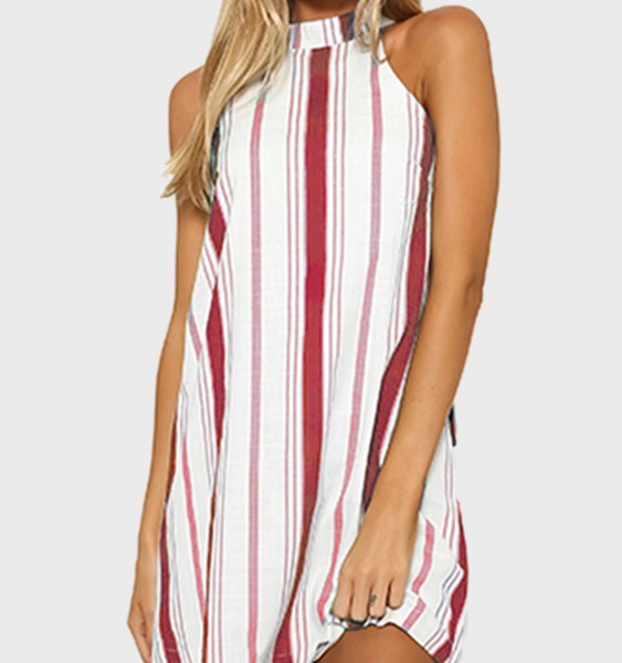 Burgundy Stripe Halter Neck Mini Dress 2