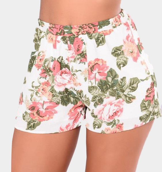 White Random Floral Print Stretch Waistband Shorts 2