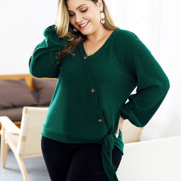 Plus Size Green V-neck Knotted Long Sleeves Jumper 2