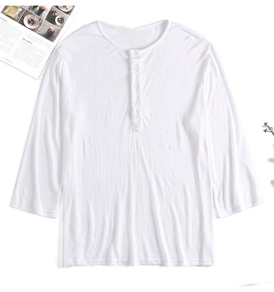 Men Thin Casual Loose Button Long Sleeve Round Neck T-Shirt 2