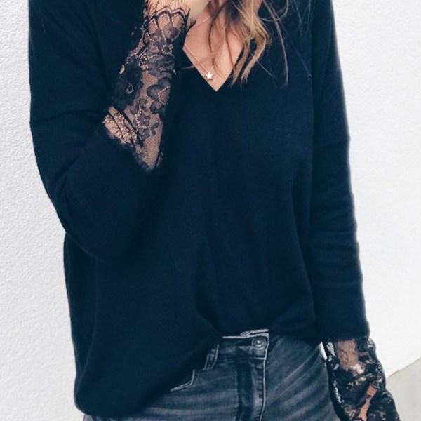 Black Lace V-neck Long Sleeves Knit Top 2