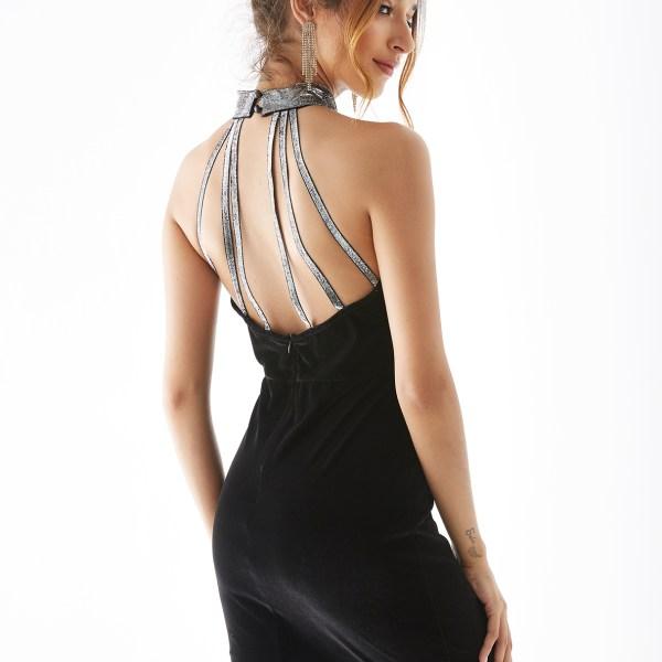 YOINS Black Halter Backless Design Sleeveless Bodycon Dress 2