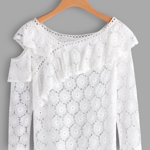 White See Through Lace Details Cold Shoulder Long Sleeves Blouse 2