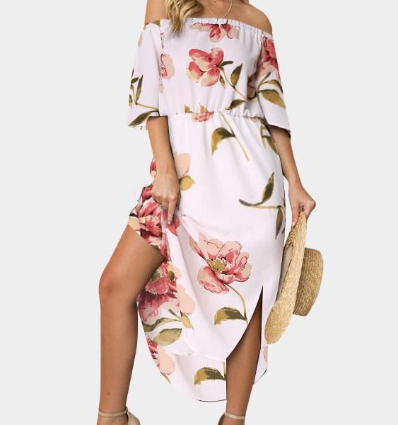 White Random Floral Off The Shoulder Half Sleeves Dress 2