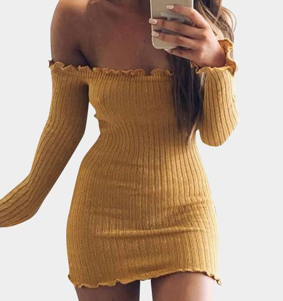 Yellow Off-The-Shoulder Frill Hem Sweater Knit Dress 2