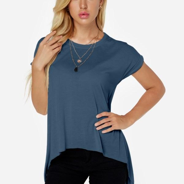 Blue Slit Design Round Neck Short Sleeves Tee 2