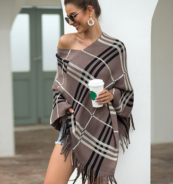 Tan Check Tassel Details One Shoulder Long Sleeves Cape Coat 2