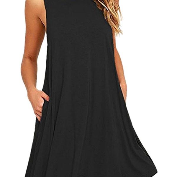 Black Round Neck Side Pockets Mini Dress 2