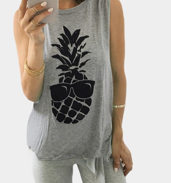 Grey Pineapple Print Cami Top 2