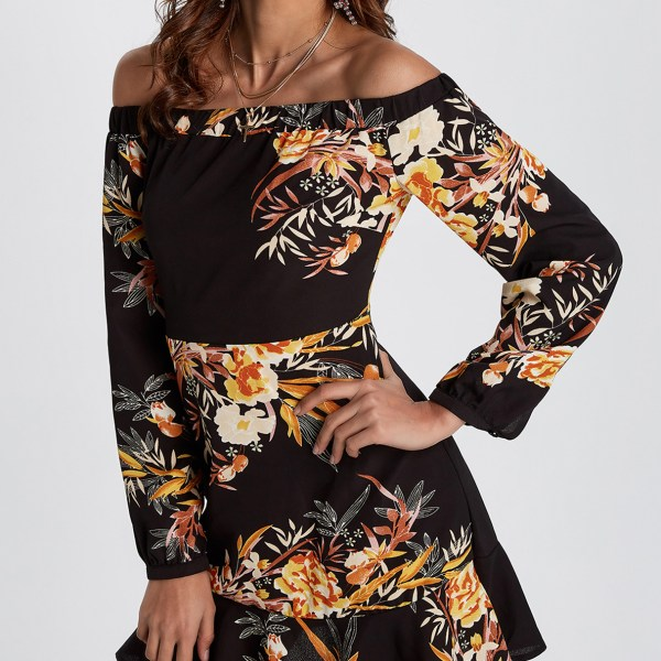 Black Random Floral Print Off The Shoulder Mini Dress 2