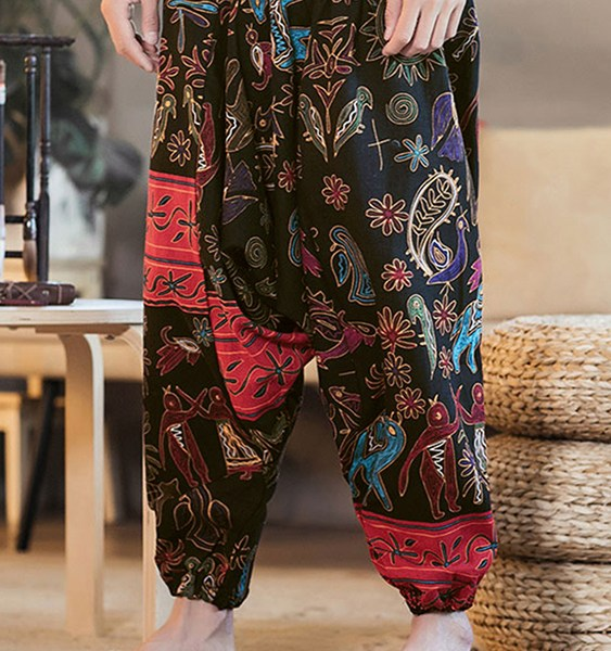 Men Ethnic Printing Paisley Print Loose Casual Harem Trousers 2