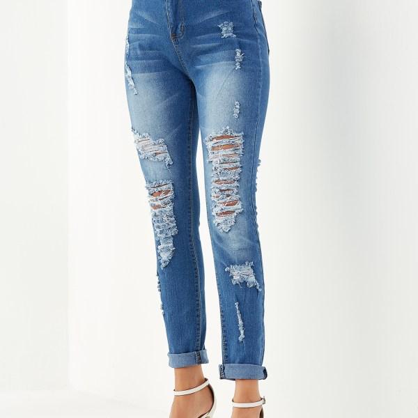 Blue Pocket Design Ripped Jeans 2