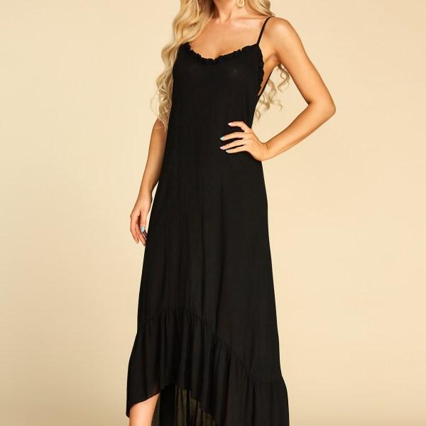 Black Ruffle Trim V-neck Sleeveless Dress 2