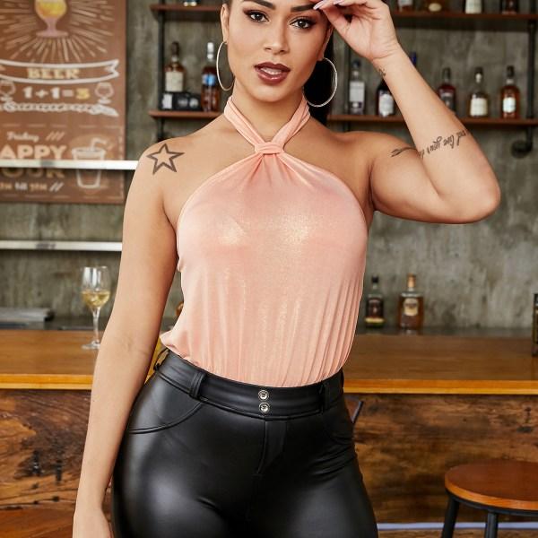 YOINS Pink Backless Design Halter Sleeveless Bodysuit 2