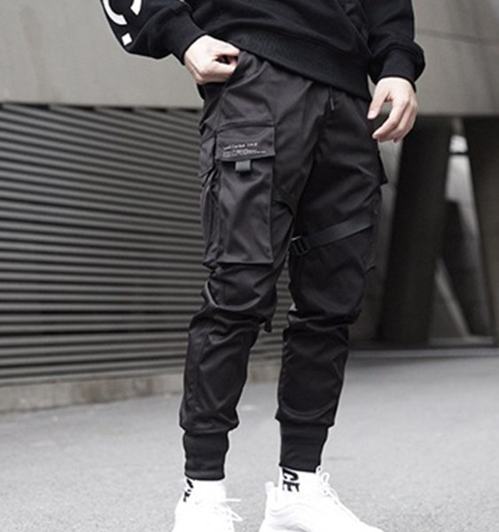 Men Fashionable Multi Pocket Overalls Loose Casual Tapered Pants 1