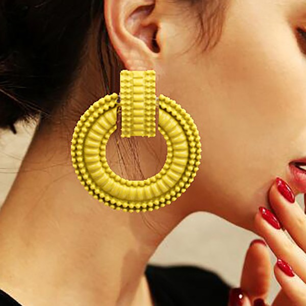 Yellow Alloy Round Circle Hoop Earrings 2
